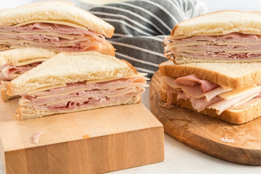 ham turkey and cheese sandwiches cut in half