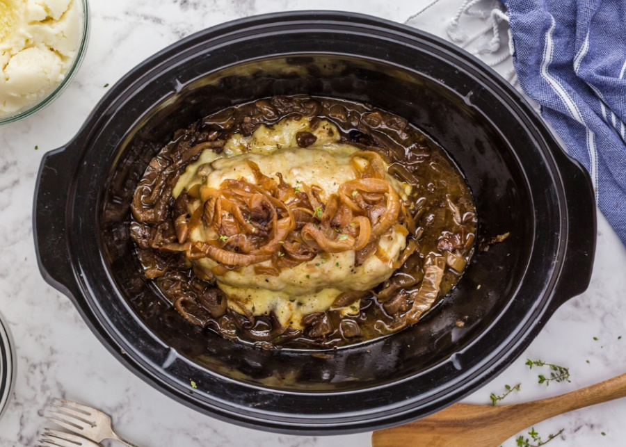 French Onion Meatloaf in a slow cooker