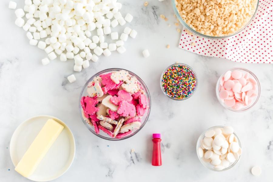 ingredients for Circus Animal Cookie Rice Krispie Treats