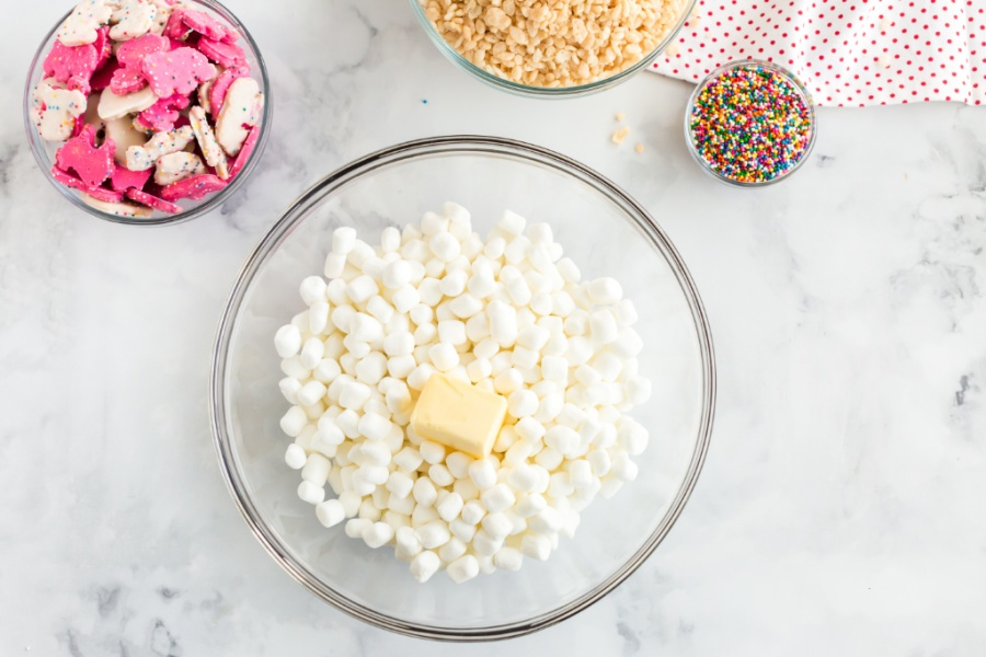 mini marshmallows and butter slices in a bowl