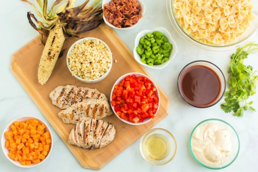 ingredients for bbq chicken pasta salad