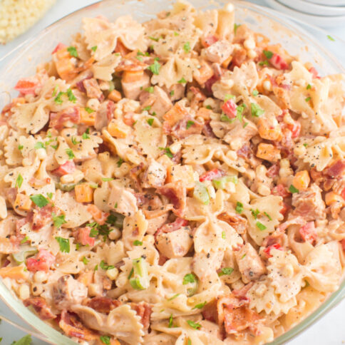 BBQ Chicken Pasta Salad in a large glass bowl