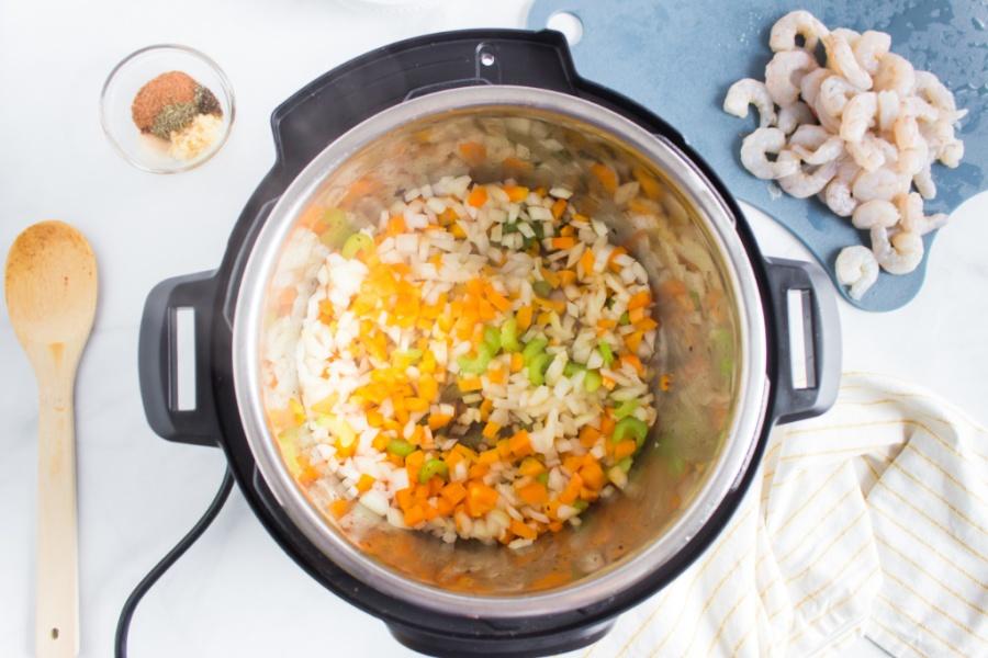 chopped veggies inside instant pot