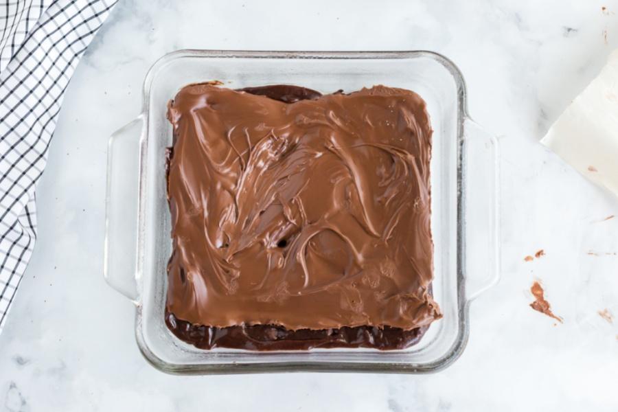 frozen nutella sheet on top of brownie batter