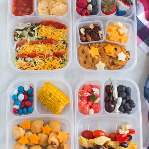 top down image of 4 july 4th lunchboxes ideas