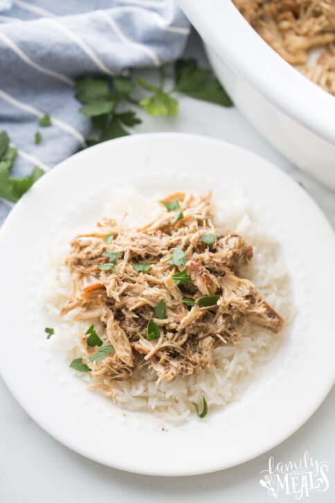 Crockpot Brown Sugar Balsamic Chicken recipe on a plate with rice