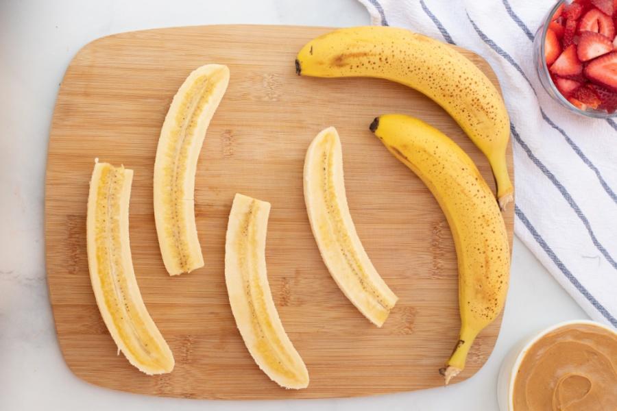 sliced bananas on a cutting board