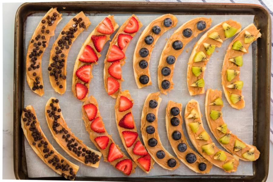 Healthy Frozen Banana Treats on a baking sheet