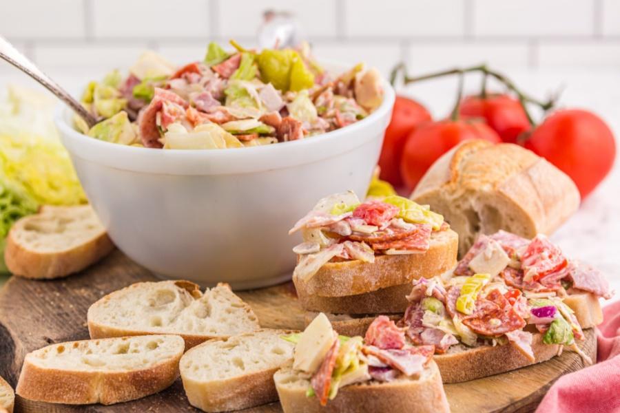 Italian Hoagie Dip with sliced bread