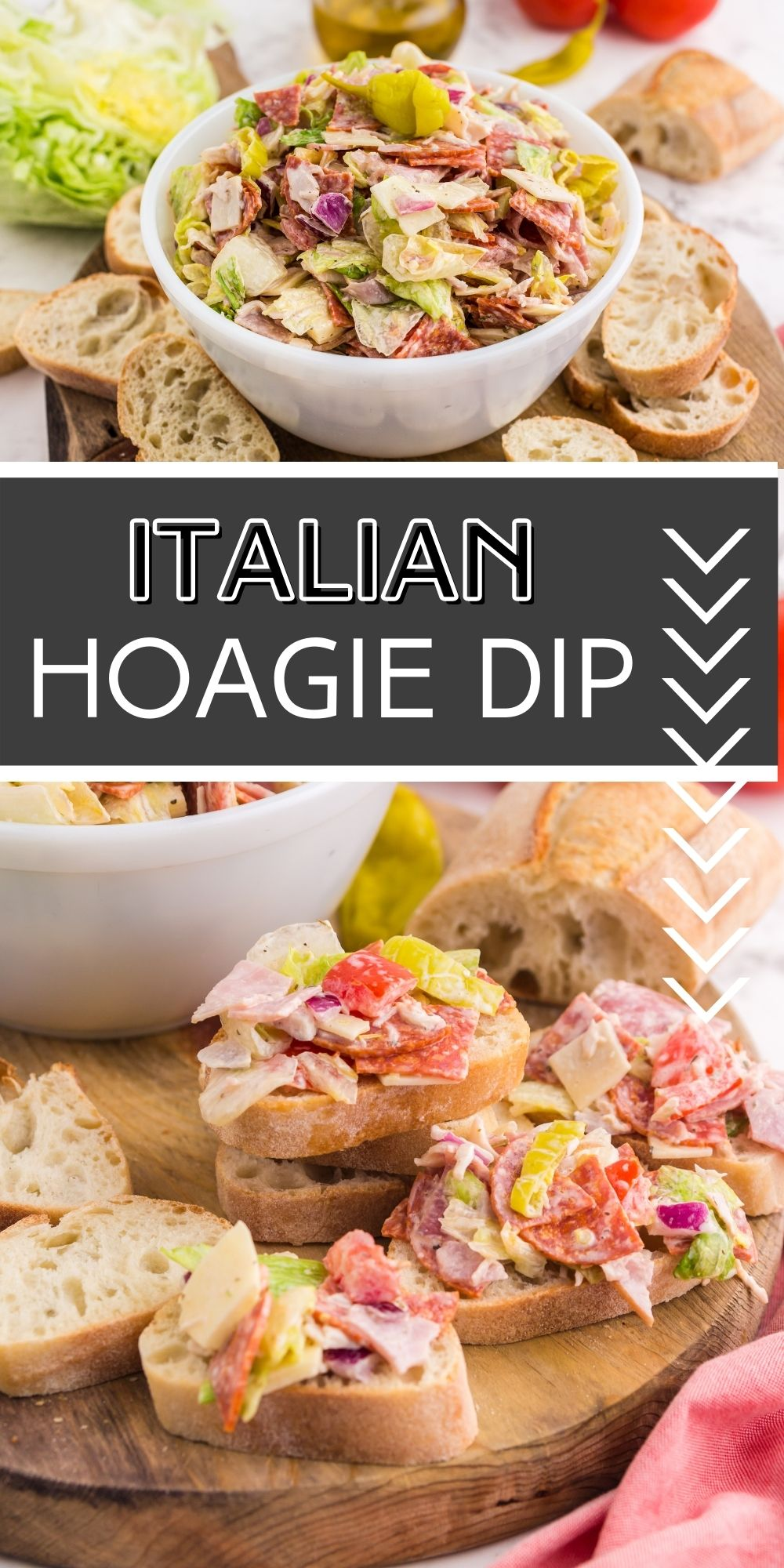 Italian Hoagie Dip tastes just like the original sandwich but this time the filling is served with baguette slices or your favorite crackers! via @familyfresh