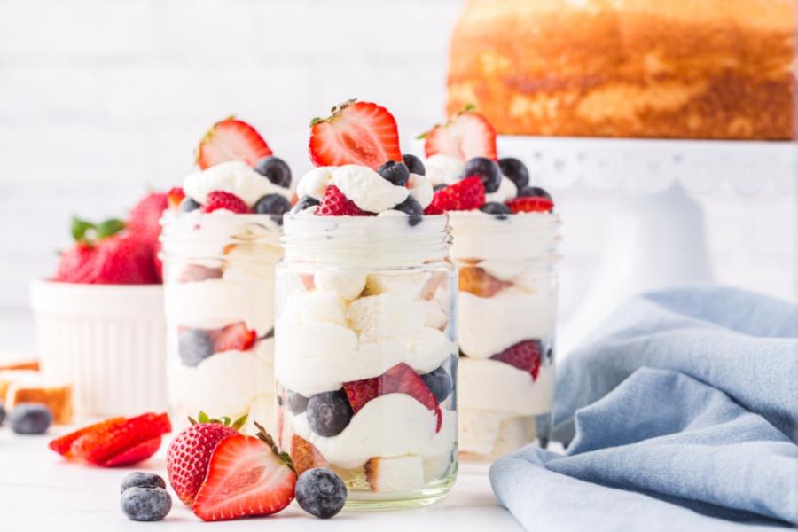 3 mason jar July 4th Angel Food Cake Trifle