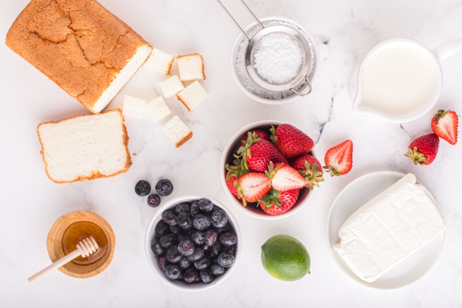 Ingredients for July 4th Angel Food Cake Trifle