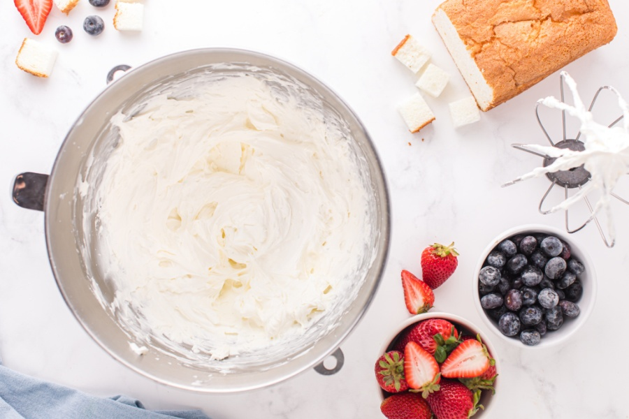 cream cheese filling in mixing bowl