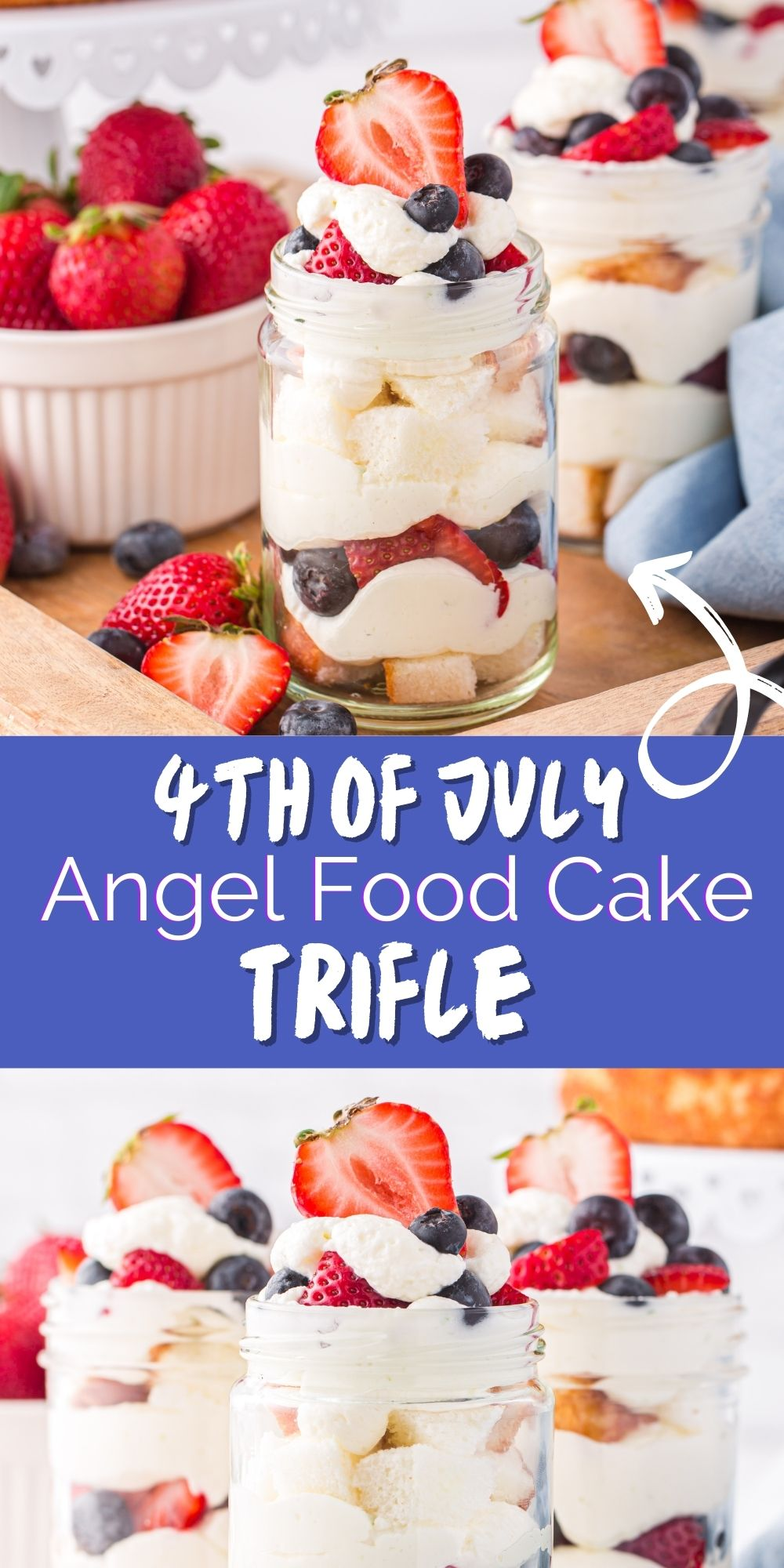 Throw this delicious July 4th Angel Food Cake Trifle together in no time. It's amazingly simple and perfect for a summer evening. via @familyfresh