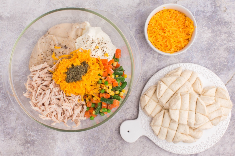 ingredients for Chicken Pot Pie Bubble Up Casserole