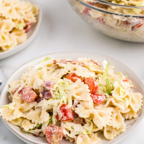 plate with blt pasta salad