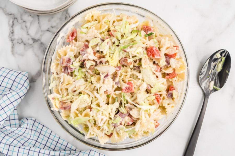 blt pasta salad in a mixing bowl
