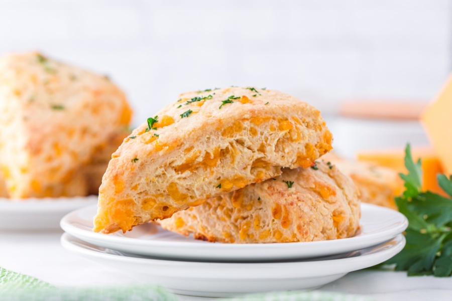 Cheddar Cheese Scones on a plate