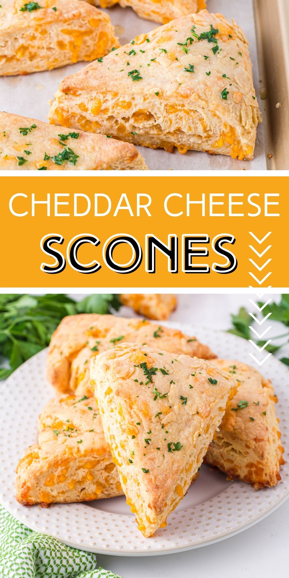 These Cheddar Cheese Scones are the savory version of the much loved sweet British scone. Great for breakfast or paired with a salad. via @familyfresh