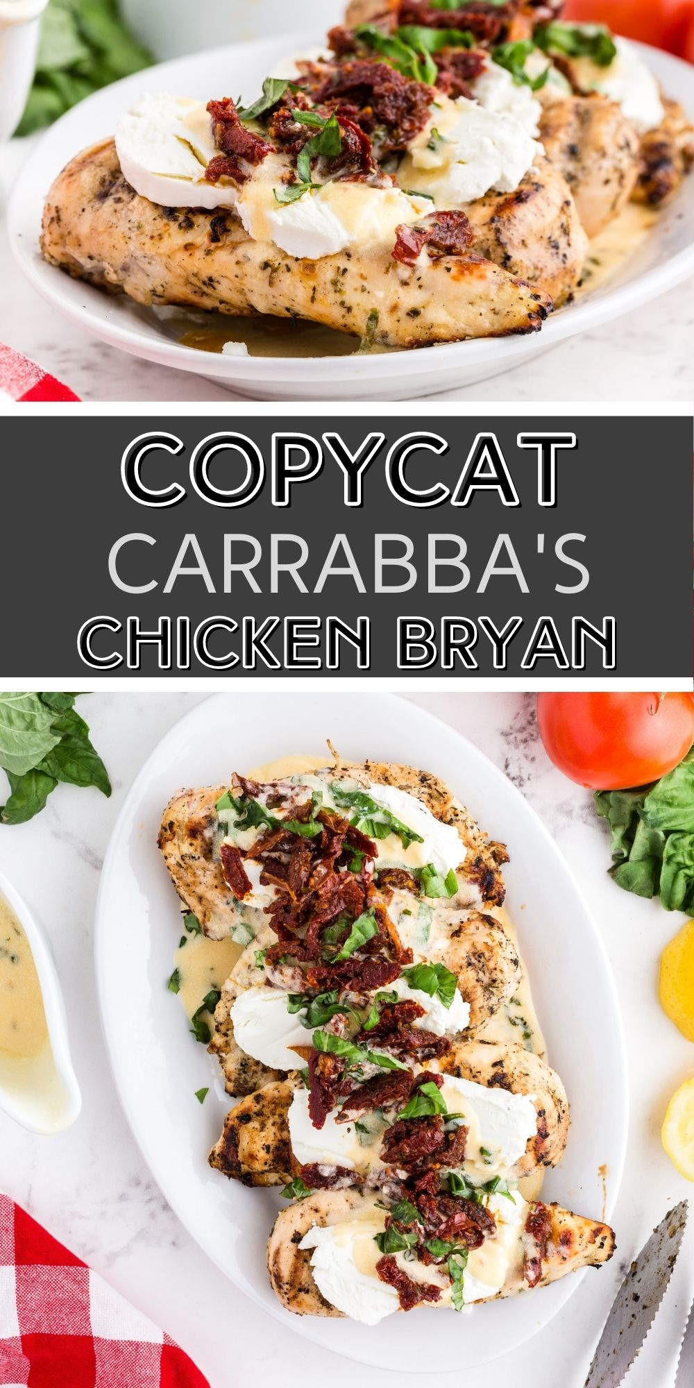 This Copycat Carrabba's Chicken Bryan is a family favorite. The lemon butter sauce with fresh basil and sun-dried tomatoes is truly amazing. via @familyfresh