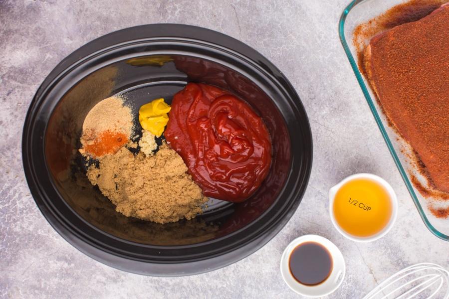bbq sauce ingredients in slow cooker