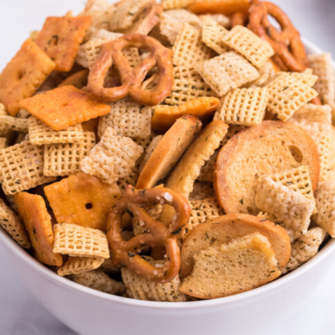 Dill Pickle Chex Mix in a bowl