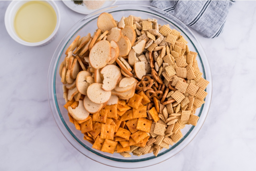 chex mix ingredients in a large mixing bowl