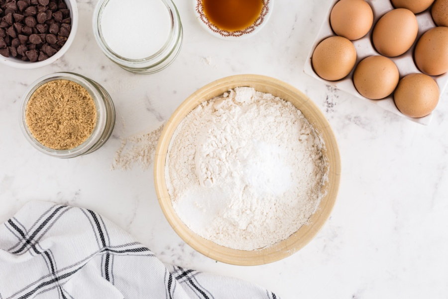 flour, salt, and baking soda in a mixing bowl