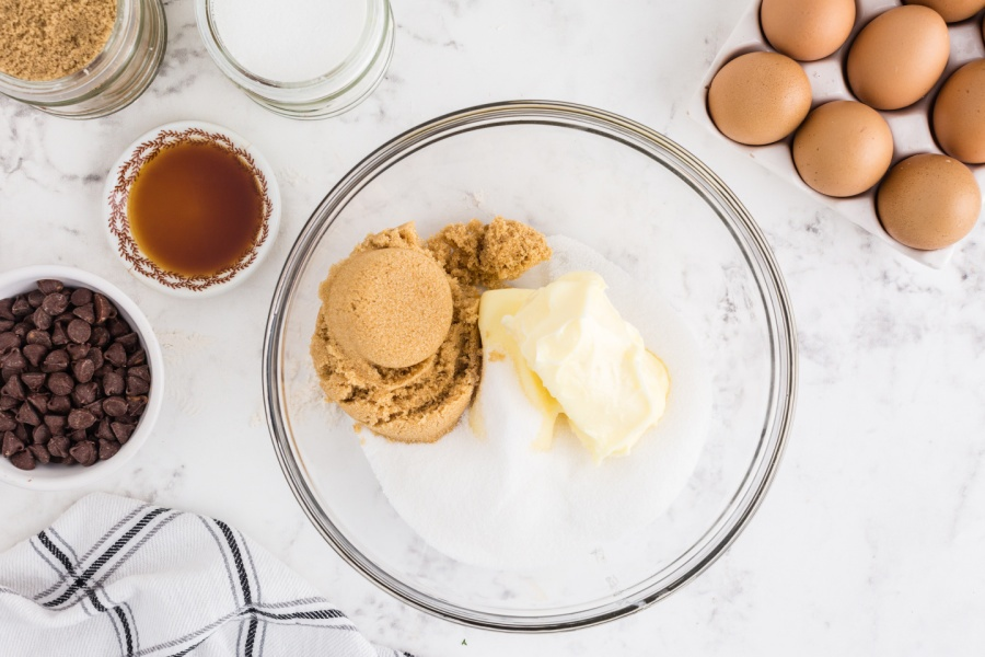 sugars and butter in a mixing bowl