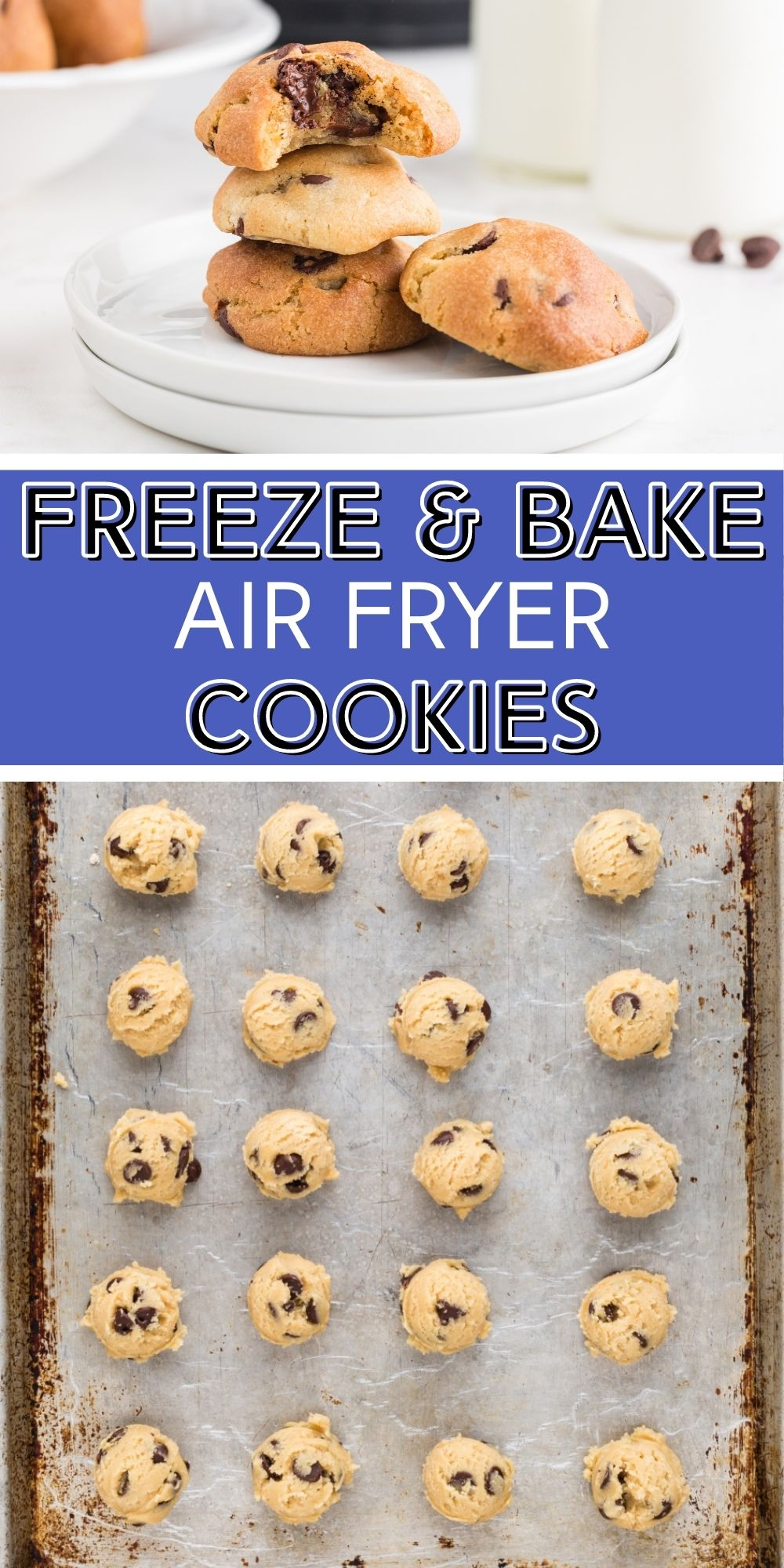 Have freshly baked cookies in minutes. These Freeze and Bake Air Fryer Chocolate Chips Cookies are perfect for when you just want a couple cookies instead of a whole batch. via @familyfresh