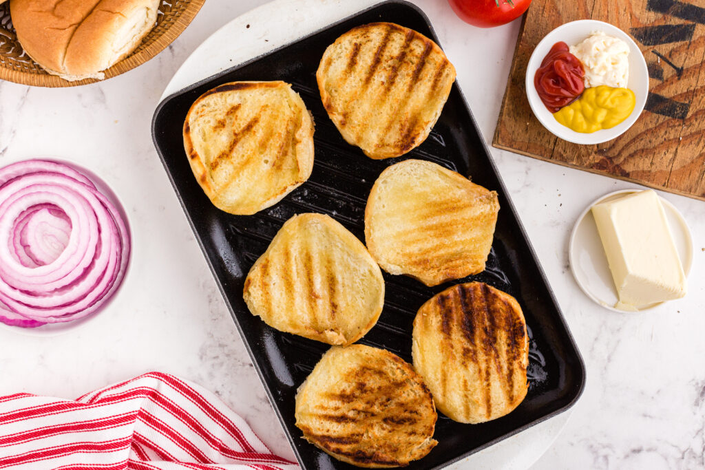 burger buns with grill marks