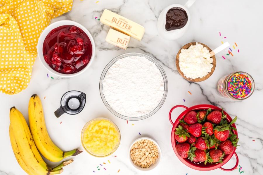 ingredients for banana split dump cake