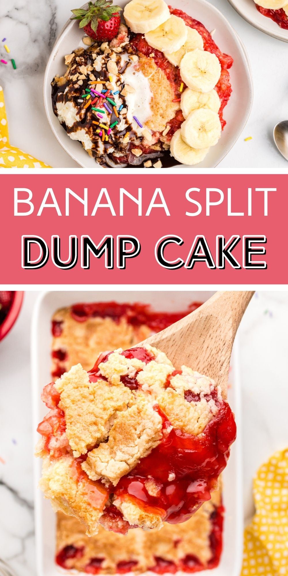 With this Banana Split Dump Cake, you now get to enjoy two extremely crave-worthy desserts all-in-one! via @familyfresh