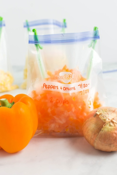 Chopped peppers and onions in storage bag