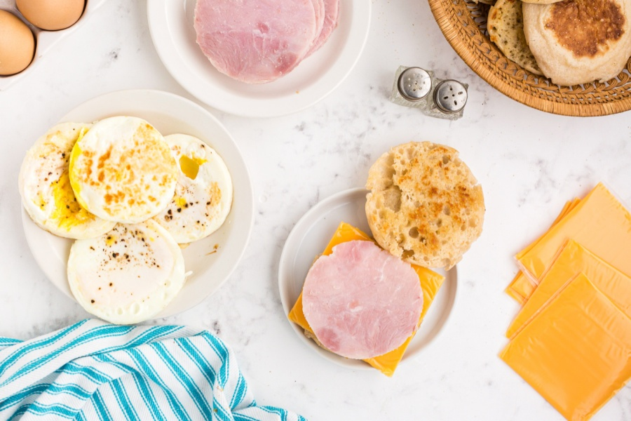 ham and cheese on english muffin