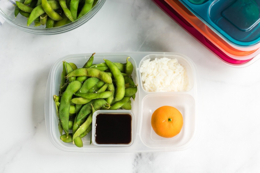edamame packed in a lunch box