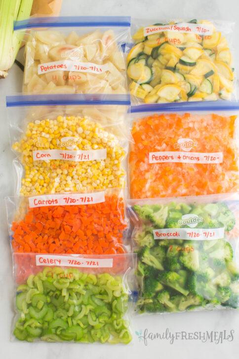 bags of vegetables in ziptop storage bags