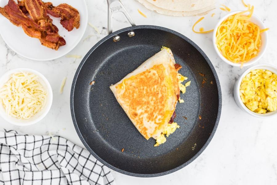 Tik Tok Famous Breakfast quesadilla in a pan