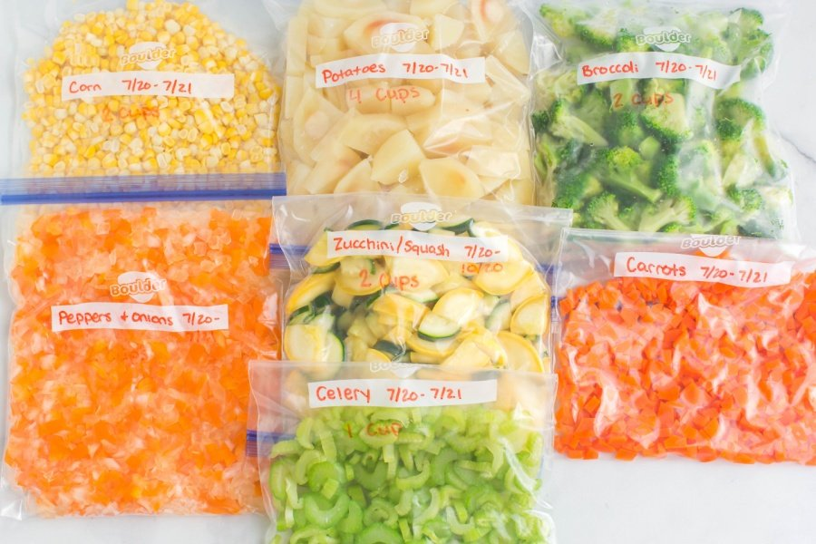 fresh veggies in storage bags