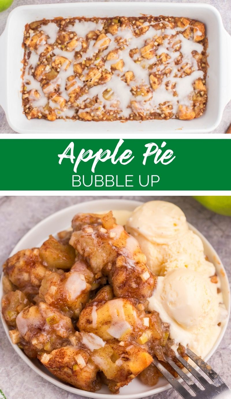 This Apple Pie Bubble Up Bake is easily made with cinnamon rolls, apples and spices. Much easier to make than apple pie, but just as good! via @familyfresh