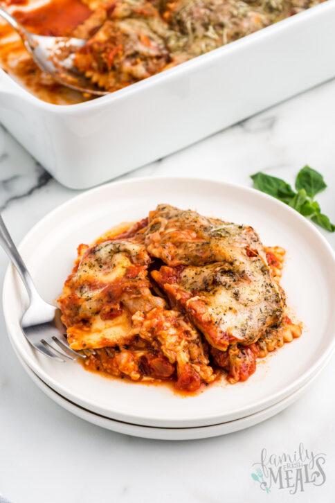 Baked Ravioli Casserole on a plate