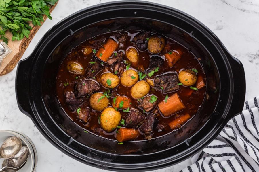 Crockpot Beef Bourguignon in slow cooker