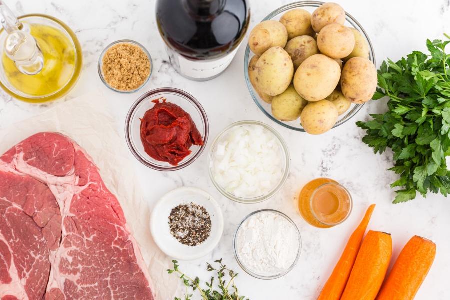 Ingredients for Crockpot Beef Bourguignon