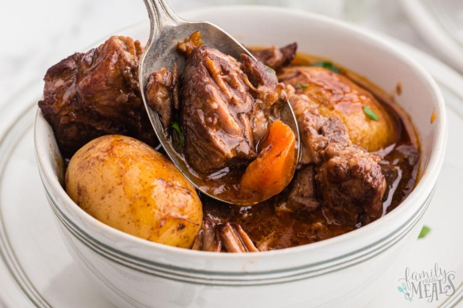 bowl of Crockpot Beef Bourguignon