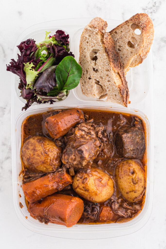 Crockpot Beef Bourguignon packed in a lunch box