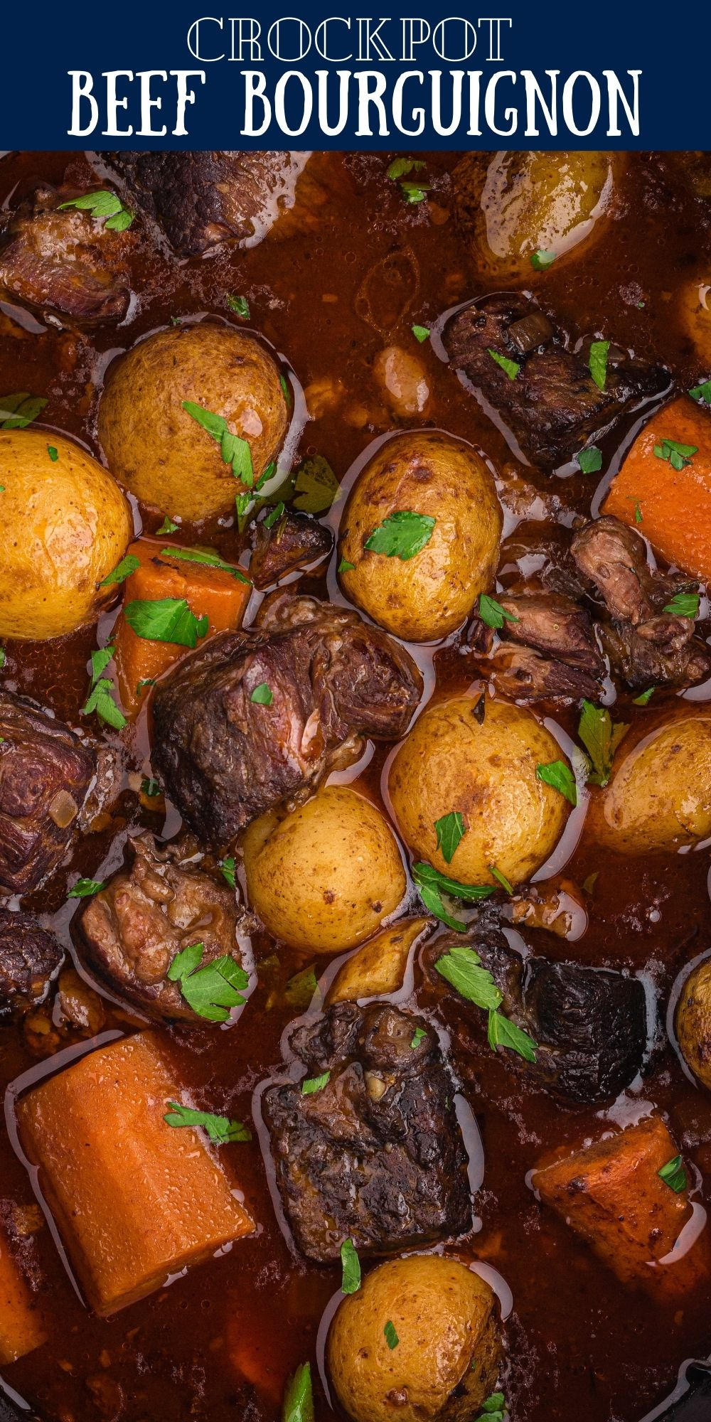 If you're looking for a tender beef stew that's been kicked up a notch or two with a rich red wine base then this Crockpot Beef Bourguignon is for you! via @familyfresh