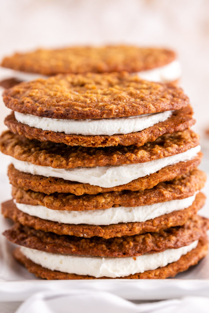 Stack of homemade oatmeal pies on a plate