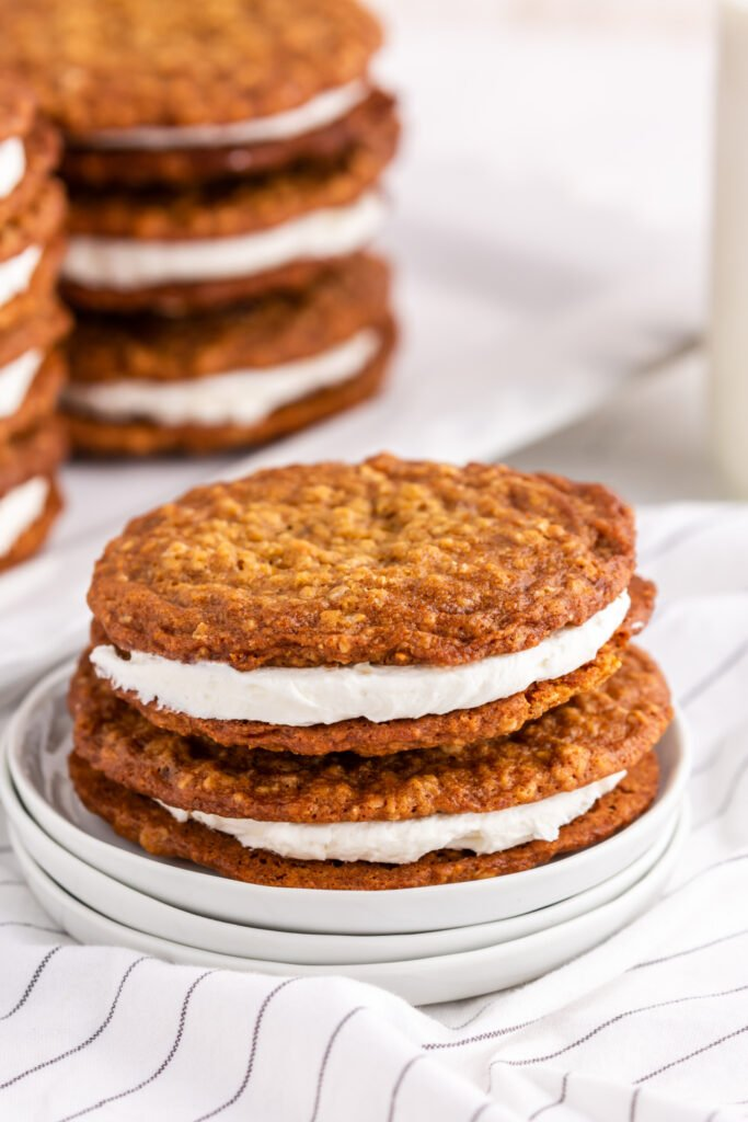 Homemade Oatmeal Pies stacked on plate