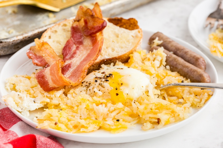 A serving of sheet pan breakfast on a plate