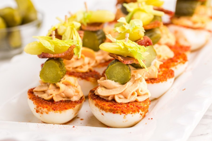 Bloody Mary Deviled Eggs on a platter